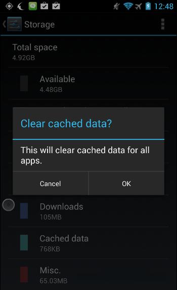 xoa bo nho cache android