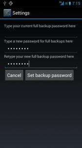 Desktop backup password