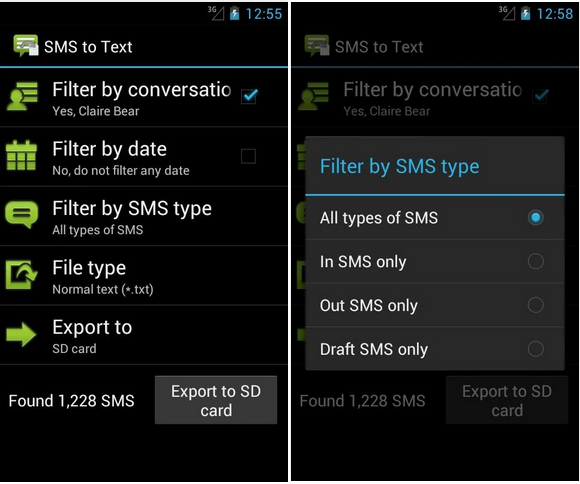 SMS to Text backup