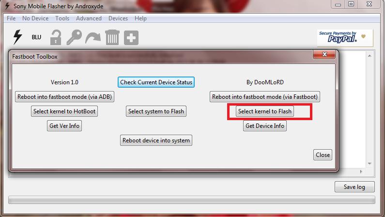 flashtool flash kernel