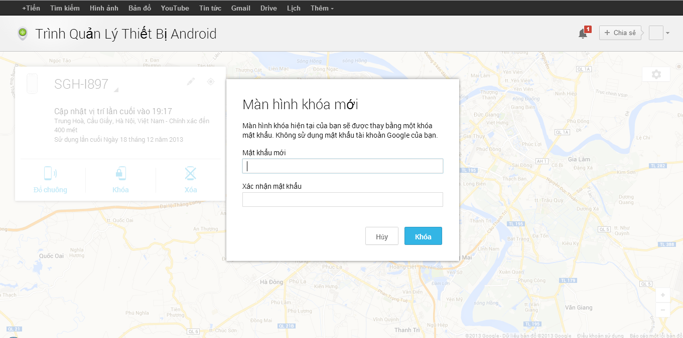 khoa dien thoai android bang android device manager