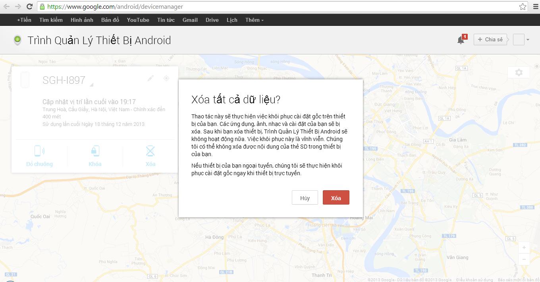 xoa du lieu bang android device manager
