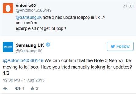 Samsung Galaxy Note 3 Neo được nhận bản cập nhật Android Lollipop